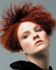 peinados cortos - crimped short red hair