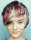 cortes pixie - short haircut with multiple hair colors