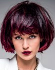 peinados pixie - wine red hair