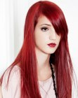 peinados largos - straight long red hair