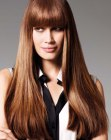 peinados largos - long hair with vintage bangs