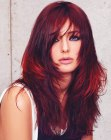 estilos para cabello largo – deep red hair color