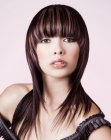estilos cabello largo - bangs with rounded corners