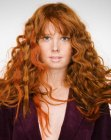 peinados cabello largo - long wavy red hair