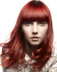 peinados tendencia - red hair with highlights